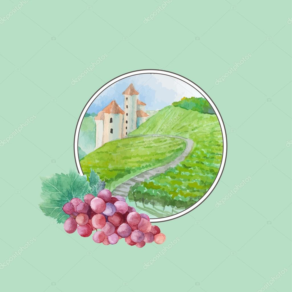 Watercolor vineyard landscape scene