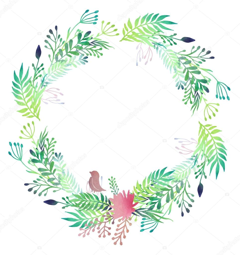 Watercolor Floral Wreath Stock Vector 169 Dinal 60123289