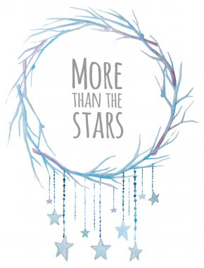 Stars wreath. Watercolor winter branches wreath with star garlands. Pastel blue vector print clip art vector