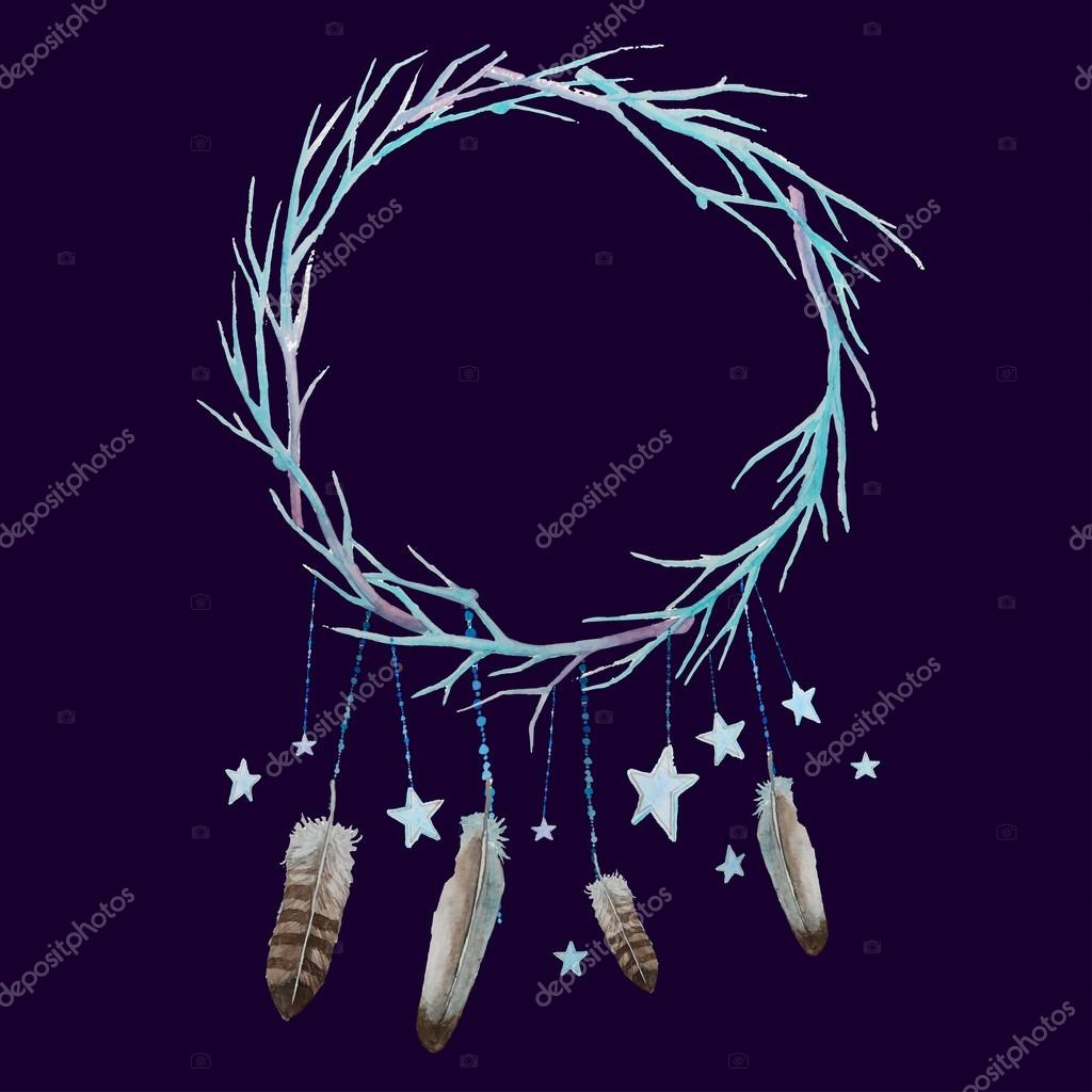 Stars and feathers wreath