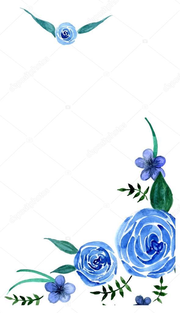 Vectores Rosas Azules Fondo De Flores Azules Vector De Stock