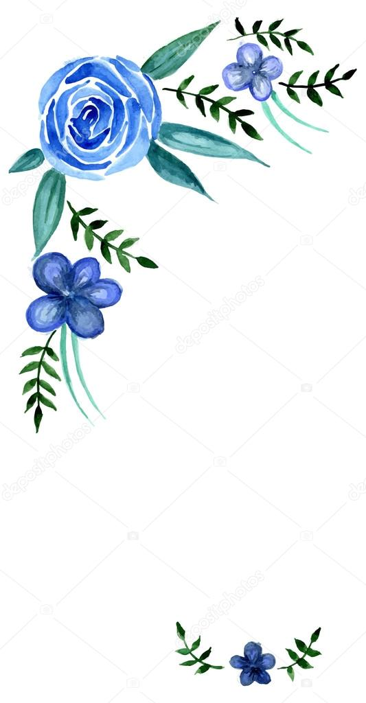 Vectores Flores Azules Invitacion Flores Azules Vector De Stock