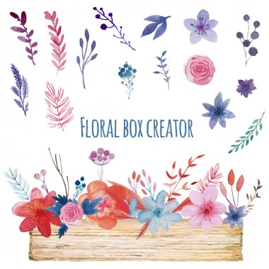 Watercolor floral box creator. Set of hand drawn wooden box, plants, berries and flowers for design various combinations clip art vector