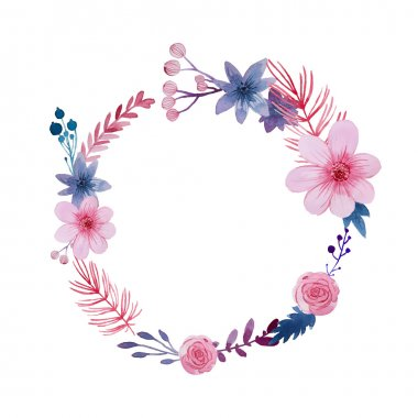 Watercolor vector wreath. Floral frame design. Cartoon flowers background clip art vector
