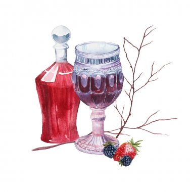 Watercolor vintage wine set