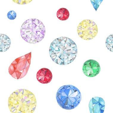 Watercolor diamonds seamless pattern