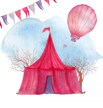 Watercolor circus Hand drawn background