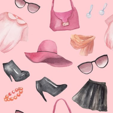 Fashion objects seamless pattern
