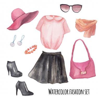 Fashion wardrobe objects set