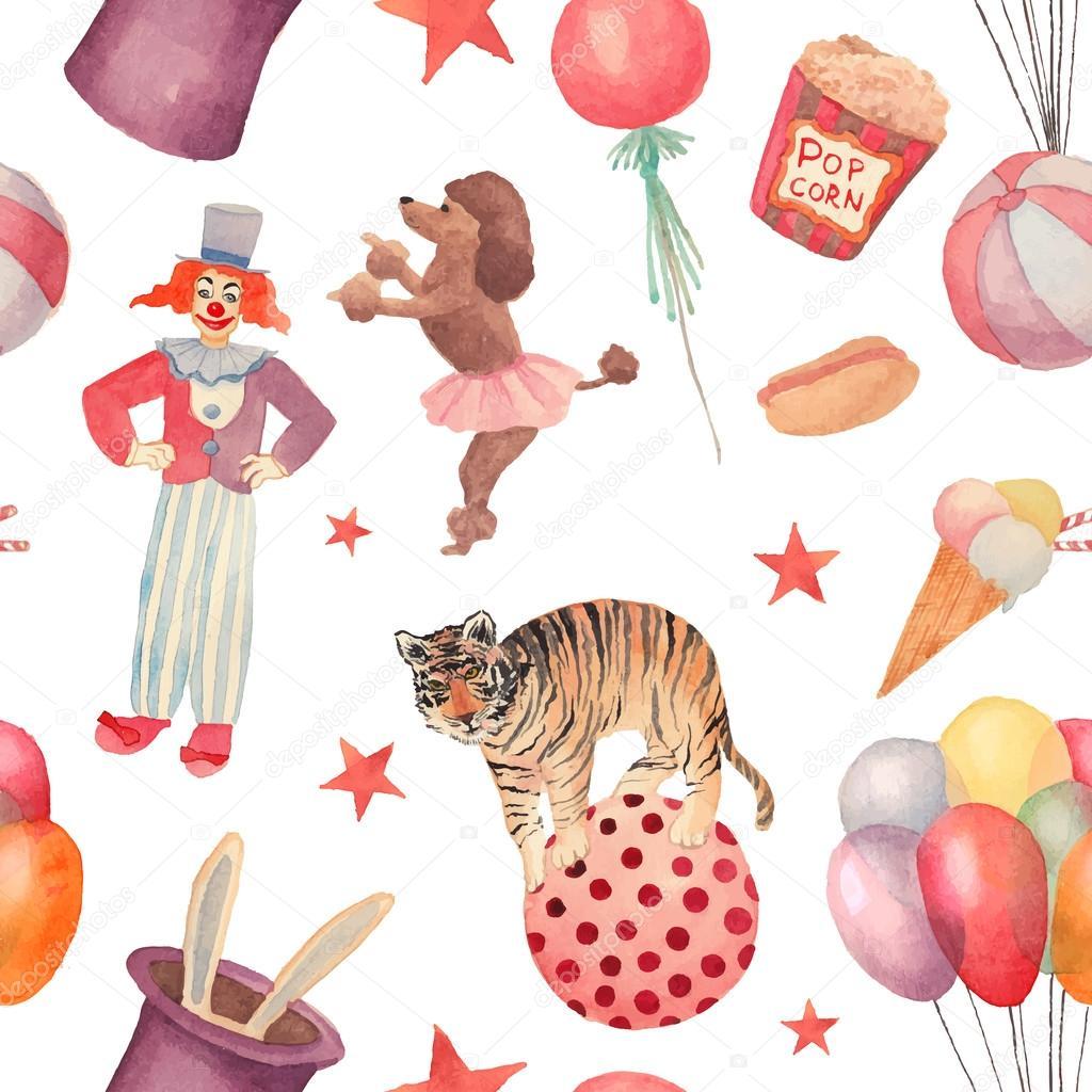 Watercolor Circus seamless pattern