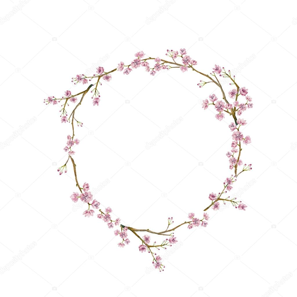 Watercolor sakura wreath