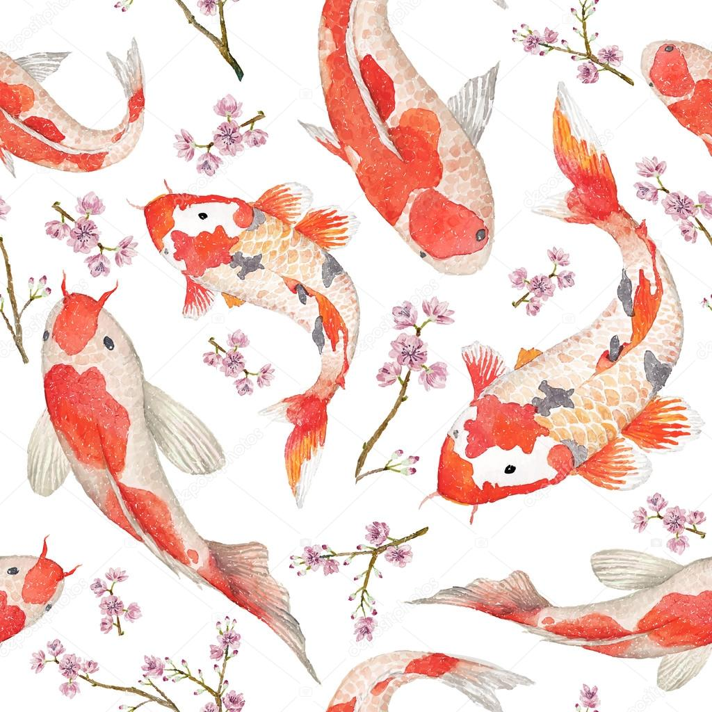 Oriental pattern with rainbow carps