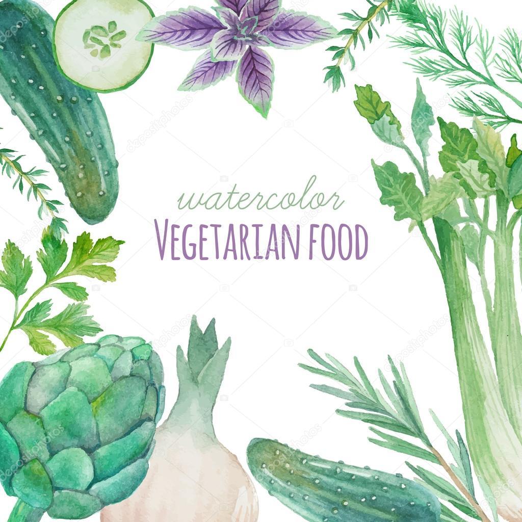 Watercolor Vegetarian food frame