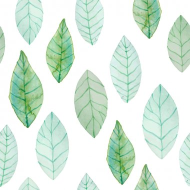 Watercolor green leaves pattern. Hand painted organic seamless background. Vector illustration. clip art vector