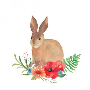 Watercolor Wreath and Easter Rabbit