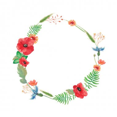 Watercolor summer wreath