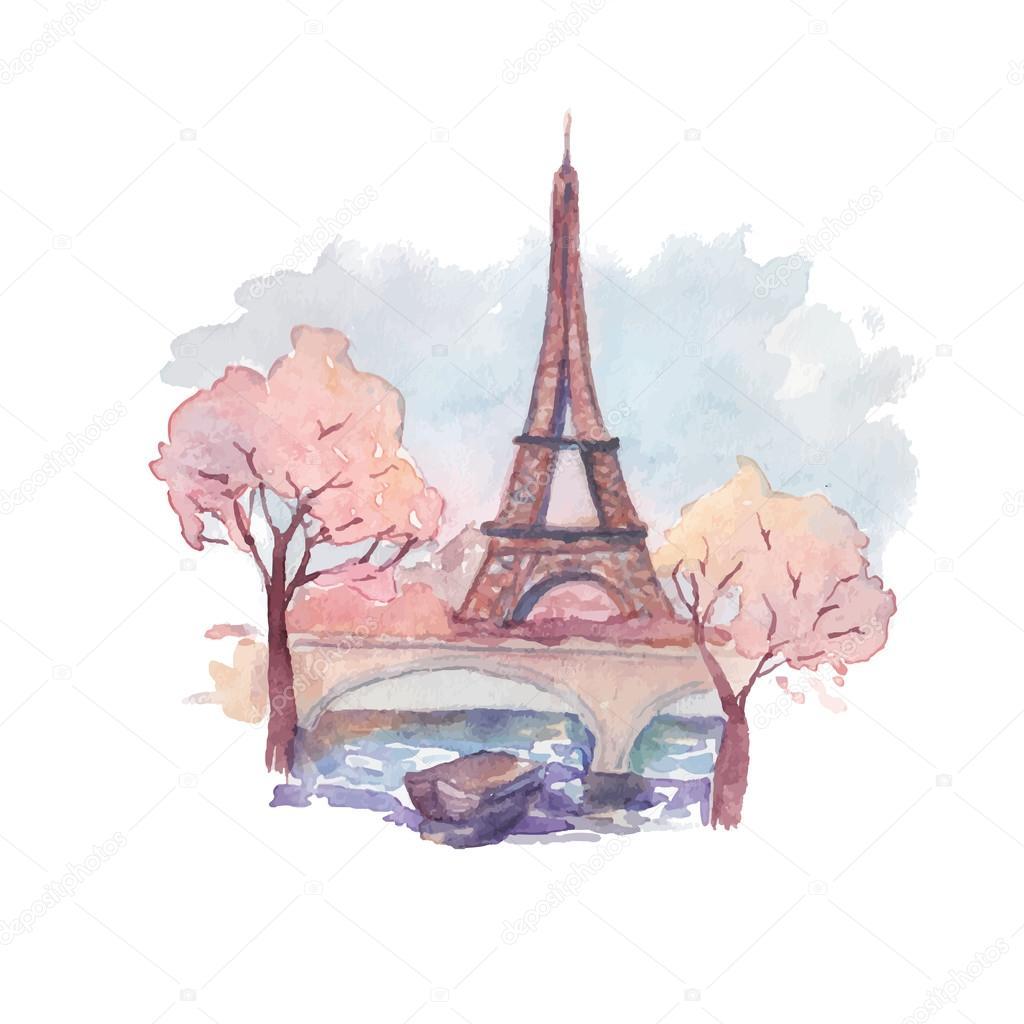 watercolor eiffel tower � stock vector 169 dinal 66312309