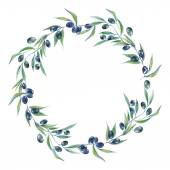 Photo Watercolor black olive branch wreath