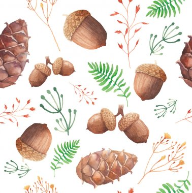 Watercolor forest pattern. Hand painted seamless texture with acorns, cones, twigs and herbs. Natural objects on white background. Vector illustration stock vector