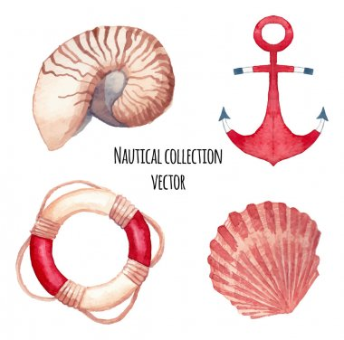 Watercolor nautical set.
