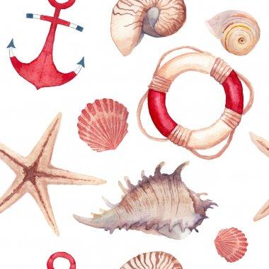 Watercolor sea shells and stars pattern