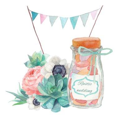 Watercolor succulents wedding style art
