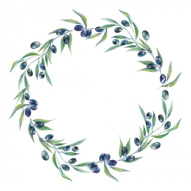 Watercolor black olive branch wreath