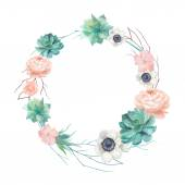 Photo Watercolor succulents and flowers wreath
