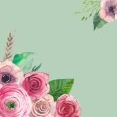 Akvarell, művészi virágos keret