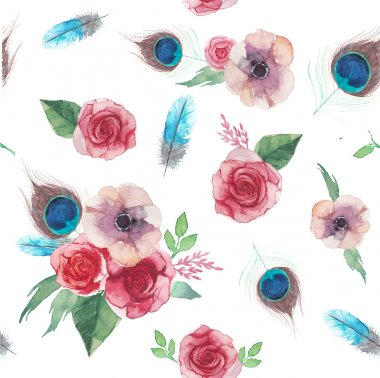 Watercolor shabby chic seamless pattern
