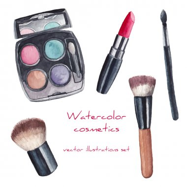 Watercolor cosmetics set. Hand painted make up artist objects: lipstick, eye shadows, brushes. Vector isolated beauty illustrations clip art vector