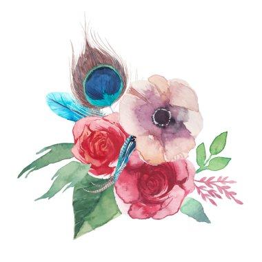 Watercolor chic flowers bouquet.