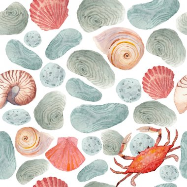 Pattern with stones, shells and crab