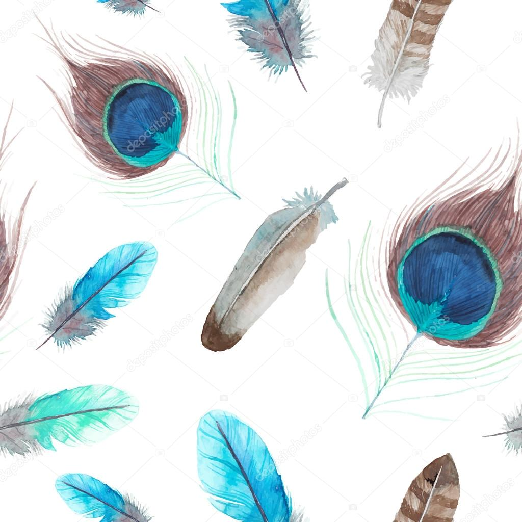 Exotic feathers seamless pattern.
