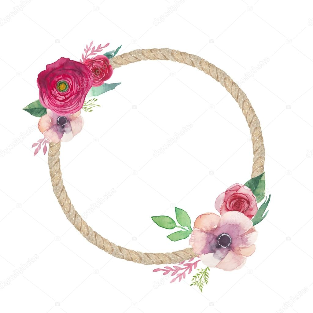 Watercolor flowers round frame