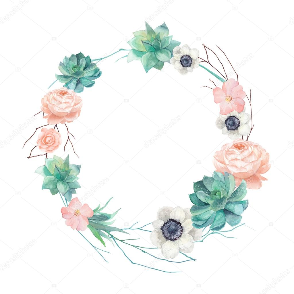 Watercolor succulents and flowers wreath