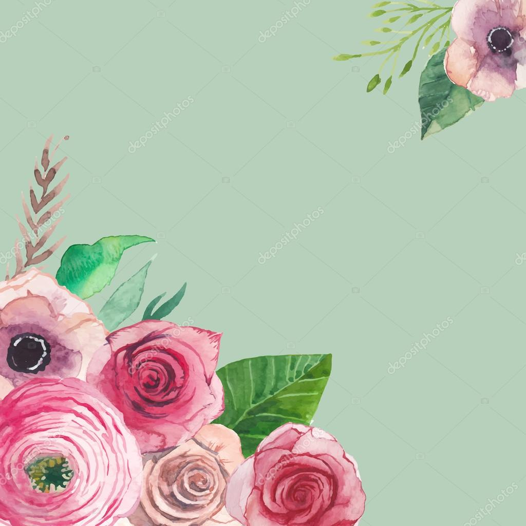 Watercolor artistic floral frame