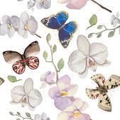 Fotografie Vzorek s květinami a butterfles