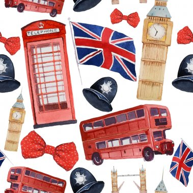 Watercolor London pattern