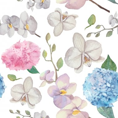 Watercolor orchid and lilac blossom background