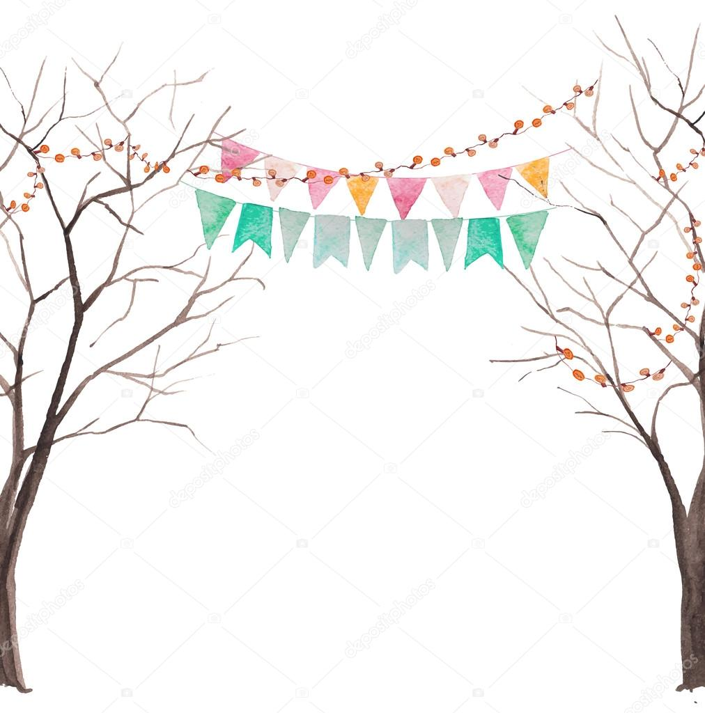 Watercolor tree party card