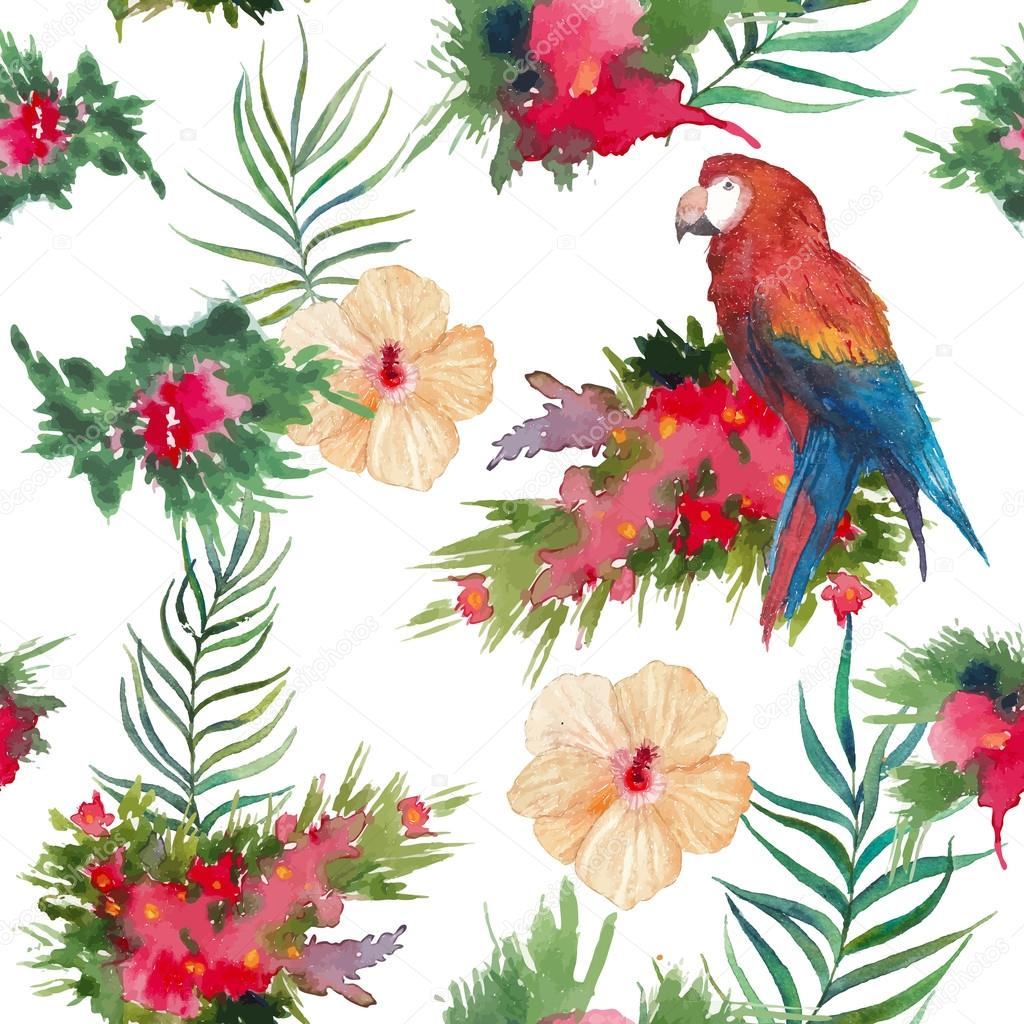 Watercolor tropical flowers and birds pattern — Stock