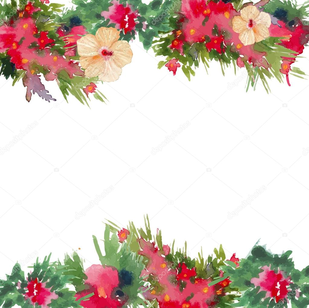 Watercolor Tropical Flowers Frame Stock Vector 169 Dinal