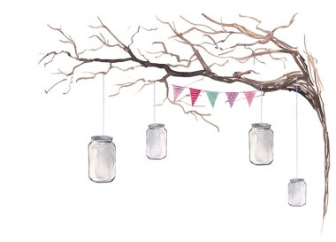 Watercolor rustic party decor.