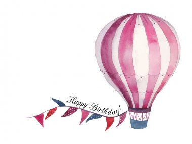 Watercolor Happy birthday baby card with air balloon and flags garland. Hand drawn vintage collage illustration with hot air balloon and banner in sky. Vector design clip art vector