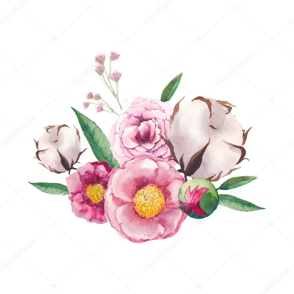 Peony, cotton, wild flowers and roses bouquet.