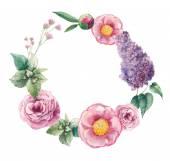 Watercolor garden floral wreath.
