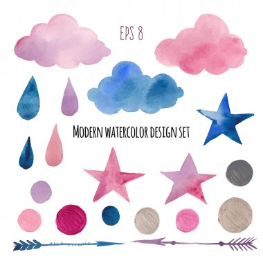 Watercolor modern abstract sticker set