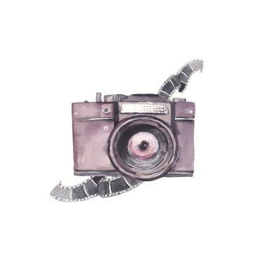 Watercolor photo camera label