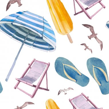 Watercolor beach vacation seamless pattern